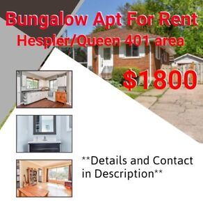 Single Level 3 Bedroom Bungalow Apartment Hespler/Queen 401 area