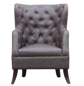 TUFTED LEATHERETTE ACCENT CHAIR ARMCHAIR