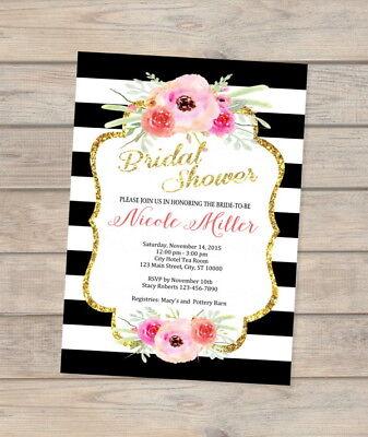 Custom Flowers And Stripes Bridal Shower Invitation, Printable Floral - Printable Bridal Shower Invitations