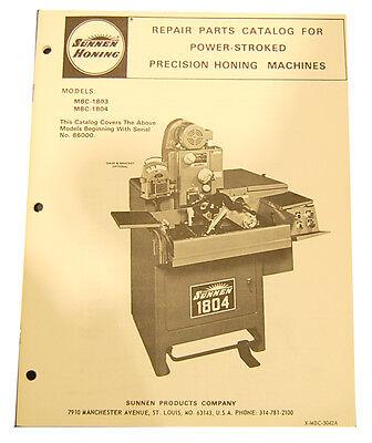 Sunnen Mbc-1803 Mbc-1804 Honing Machine Parts Manual