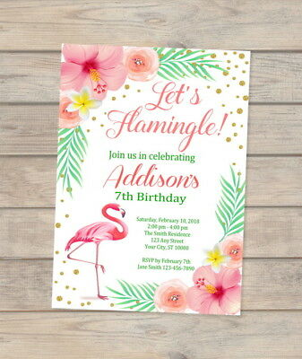 Flamingo Birthday Invitation, Tropical Birthday Party Invite, Let's Flamingle