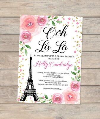 Paris Bridal Shower Invitation, Eiffel Tower, French Bridal Shower Invite