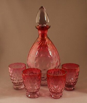 Superb Vintage Czech Glass Amethyst to Cranberry Polka Dot Decanter Set c.1925