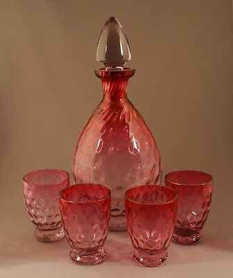 Superb Vintage Czech Glass Amethyst to Cranberry Polka Dot Decanter Set c.1925
