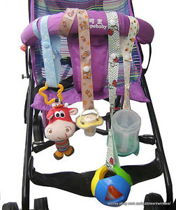 toy straps for prams strollers car seats easy to attach adjustable length ebay. Black Bedroom Furniture Sets. Home Design Ideas