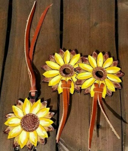 Leather Sunflower Bit Guards and Tie-On Saddle Charm 3 pc. Set Horse Tack
