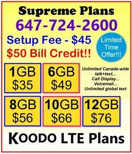 KOODO LTE Data Plans - 6gb $49, 8gb $56, 10gb $66 + $50 Credit