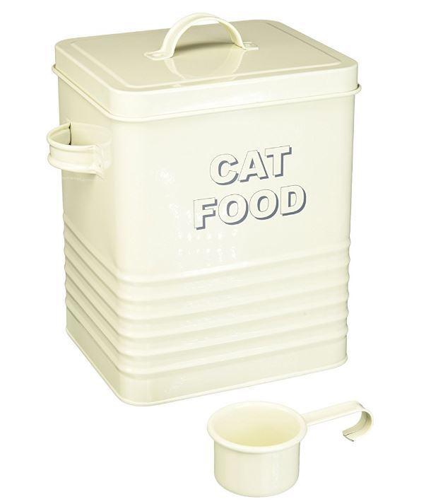 VINTAGE STYLE RETRO CREAM ENAMEL CAT FOOD STORAGE TIN CANISTER NEW /& BOXED