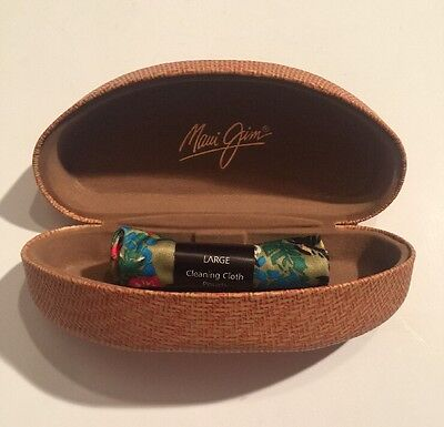 Authentic Maui Jim Sunglass Case, Clamshell, Basketweave, Cleaning Cloth NEW