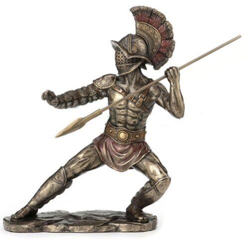 "9.5"" Murmillo Gladiator Wielding Hasta Statue Sculpture Roman Warrior"
