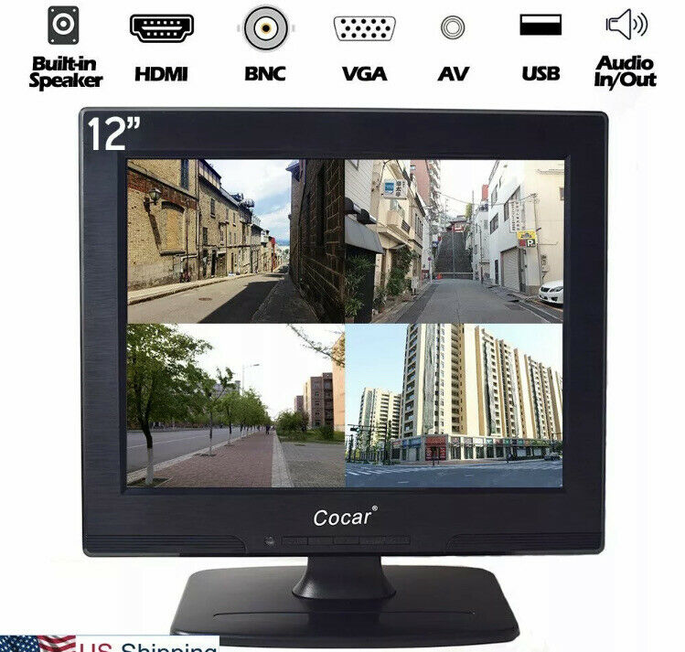 12 Inch LCD CCTV Monitor Security VGA HDMI AV BNC USB for STB PC Surveillance
