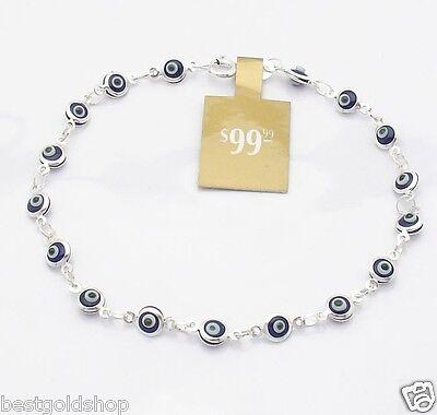 - Royal Dark Blue Baby Evil Eye Ankle Bracelet Anklet Real 925 Sterling Silver