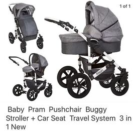 3 in 1 Travel System buggy, carrycot pram and car seat