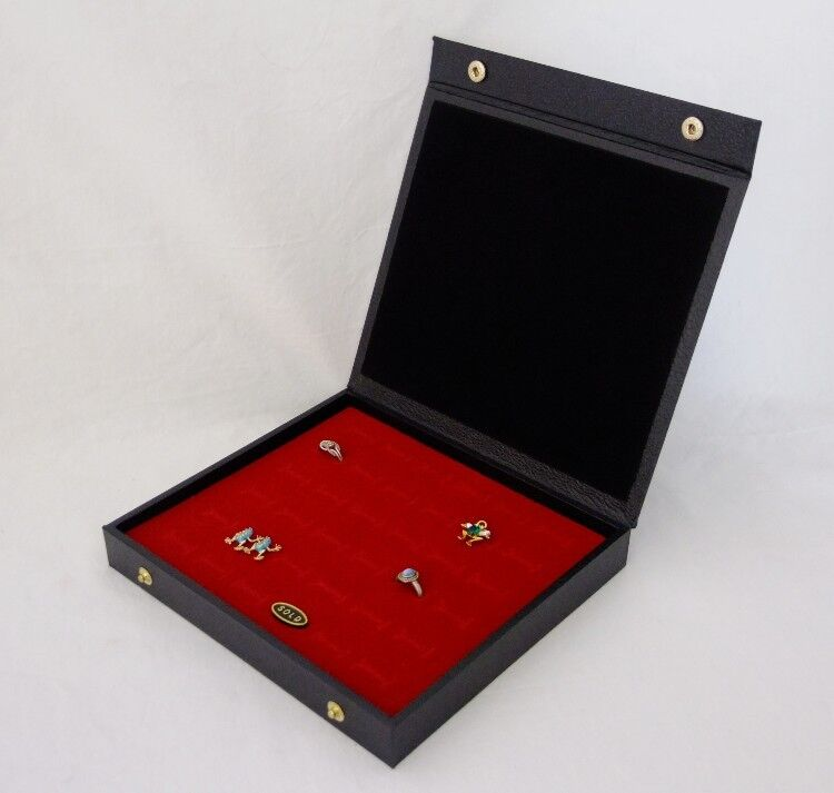 36 RING TEXTURED TOP DISPLAY CASE WITH SNAP CLOSURE RED