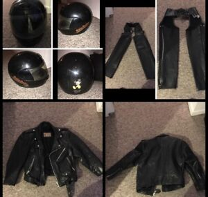 Harley Motorcycle helmet leather chaps leather jacket