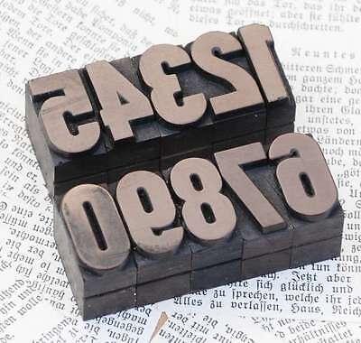 0-9 Zahlen 27mm Plakatlettern Druck Lettern Druckstempel Vintage shabby selten