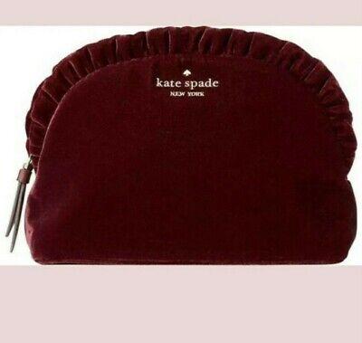 1 Hr SALE! Kate Spade Briar Lane Velvet Small Ruffle Cosmetic Bag/ Clutch