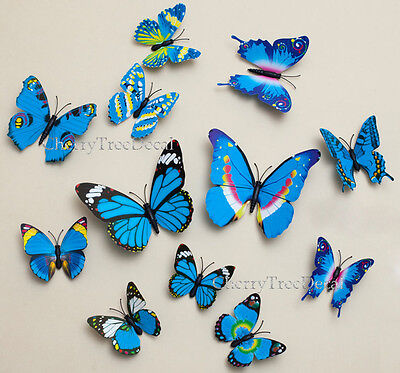Home Decoration - 12pcs 3D Butterfly Wall Art Decal Stickers Magnetic Home Decoration Vivid Colour