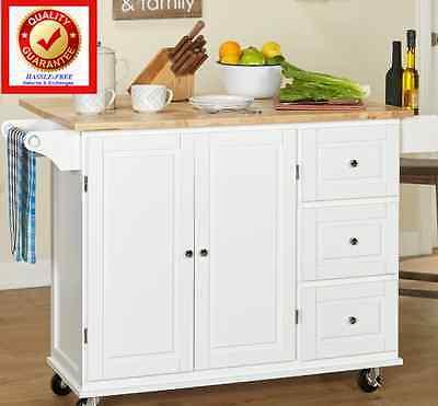 Rolling Utility Cart Wood Top Storage Organizer - Cabinet Kitchen Island w/ Leaf