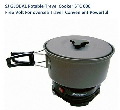 SJ GLOBAL Portable Travel Cooker Partner STC 600 Free Volt for Oversea Compact