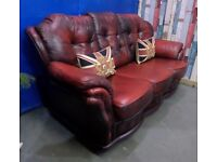 Fantastic Winchester Chesterfield 3 Seater Sofa in Oxblood Leather - UK Delivery