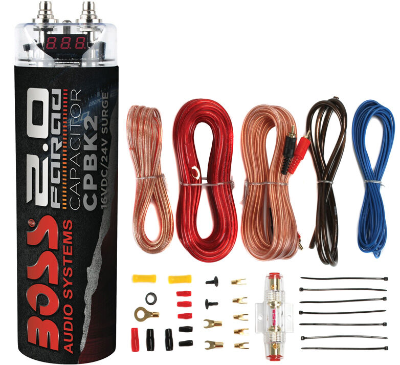 Boss CPBK2 2 Farad Digital Voltage Car Audio Power Capacitor & 8 Gauge Amp Kit
