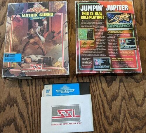 """Matrix Cubed (IBM PC Game, 1992) Buck Rogers SSI 5 1/4"""" Floppy Disk w/Box Boxed"""