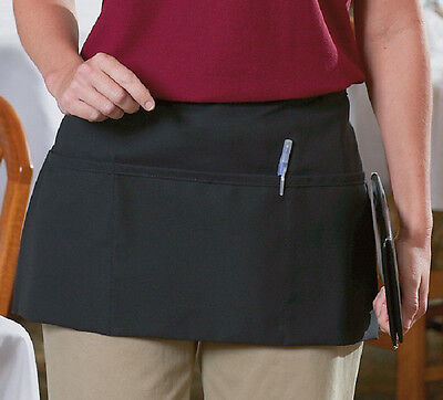 1 New Cornerstone Black Waist Apron Commercial Grade Spun Poly Special Sale