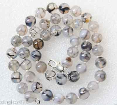 8mm Round White Black Dragon Veins Agate Gemstone Necklace 18'' AA++ 8mm Black Agate Necklace
