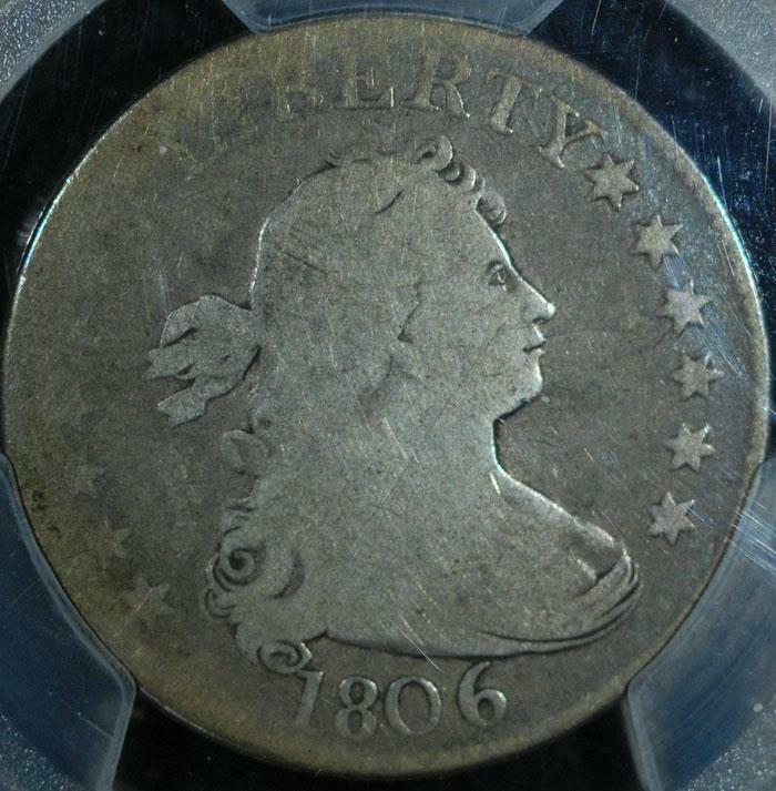 1806 Draped Bust Quarter:  PCGS G-04.  Natural color.