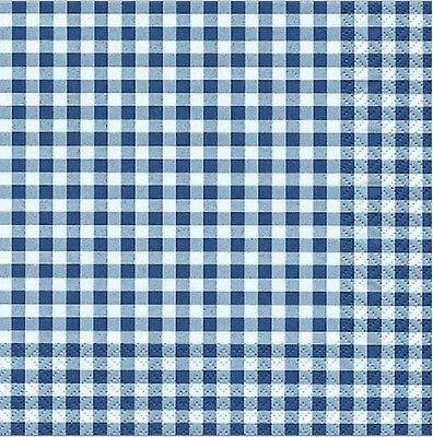 20 Stück Lunch Servietten 33x33 cm blau weiß kariert karo blue HOME FASHION Neu