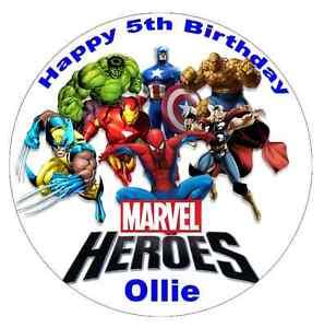 Marvel Superhero's Personalised Wafer Paper Topper For Large Cake 7.5
