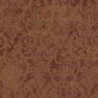 Wallpaper Rusty Brown Faux Finish with Gold Damask Overlay Gold Overlay Finish