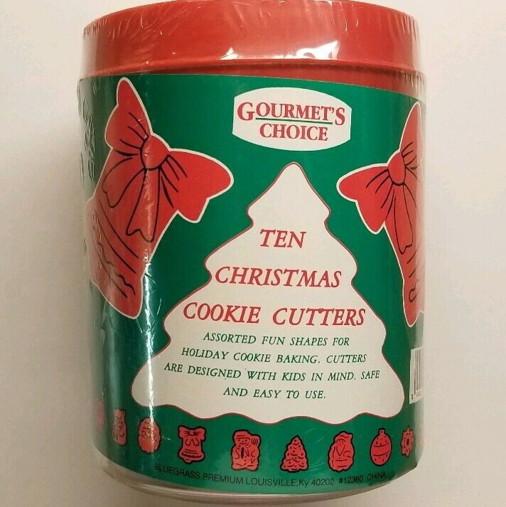 NEW 10 Christmas Cookie Cooky Cutters Holiday in Canister Tree Bell Santa & more