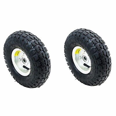 """2PC Tires Set 10"""" Steel Air Pneumatic Wheel Hand Truck Dolly Wagon Industrial"""