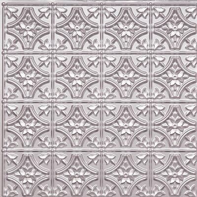 D150 Silver PVC Faux Tin Glue Up Ceiling Tiles 24 x 24 (Pvc Ceiling Tiles)