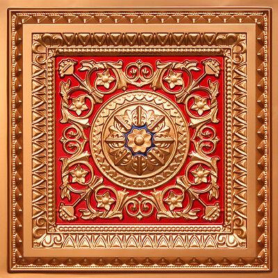 # 223 Gold/Red/Blue 2'x2' PVC Faux Tin Decorative Ceiling Tile Glue Up/Grid