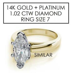 NEW* STAMPED 14K/PLAT DIAMOND RING 922714 143870203 14K YELLOW GOLD PLATINUM 1.02 CARATS
