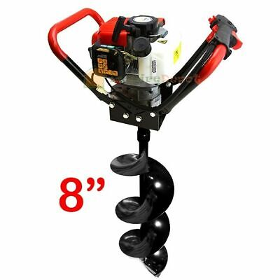 8 V-type 55cc Auger Bit 2 Stroke Gas Post Digger Hole 2.3hp Engine Air Cooled