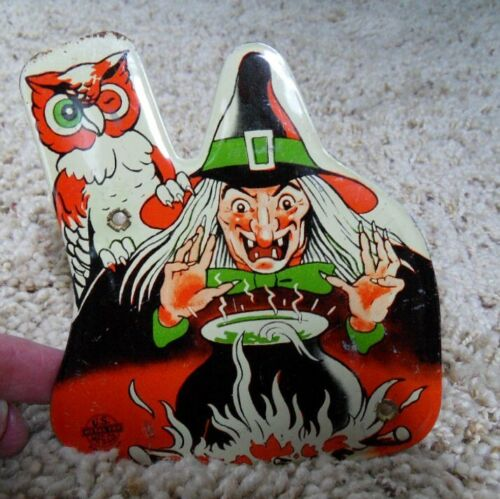 RARE U.S. Metal Toy Mfg. Co. Halloween Tin Lithographed Noisemaker Skeleton USA