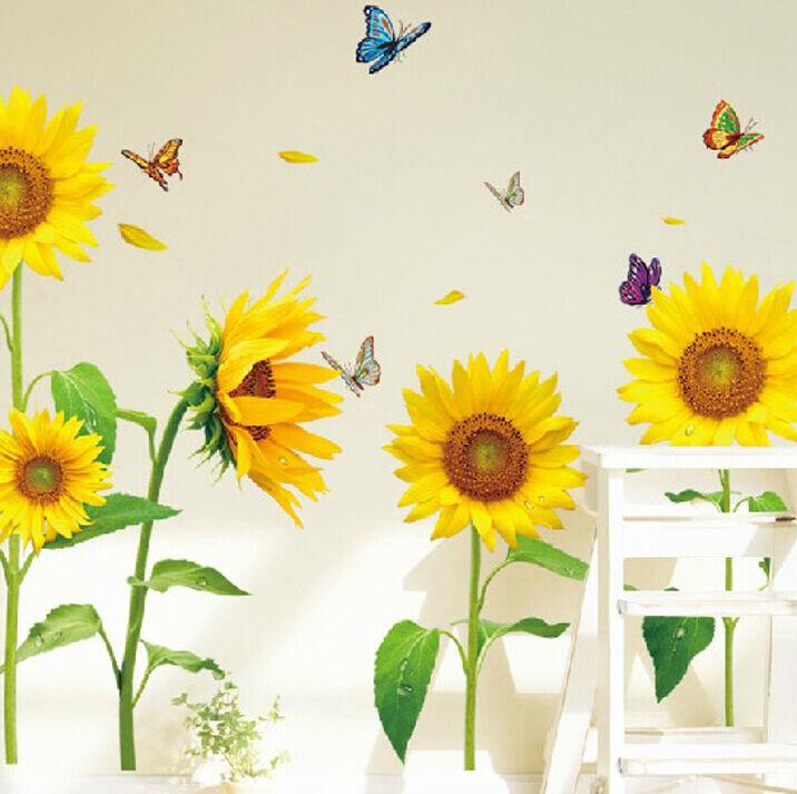 Sunflower DIY PVC Removable Wall Art Sticker Vinyl Decals Room Home ...