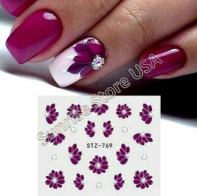 Nail Art Water Transfer Sticker STZ-769 Dark Purple Flower Petals Decal Manicure