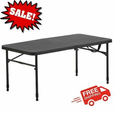 "40"" Plastic Adjustable Height Fold-in-Half Folding Table, Rich Black NEW"