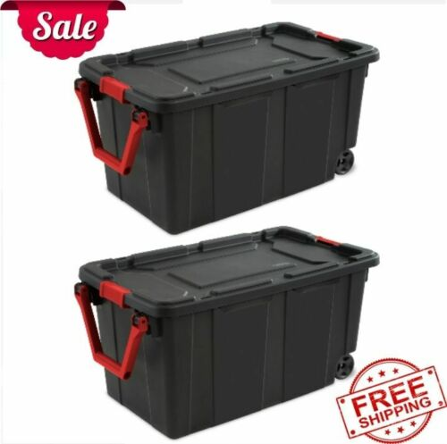 40 Gal. Wheeled Industrial Tote Plastic Storage Container Box Black Set of 2 NEW