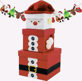 3 Small Square Christmas Stacking Nest Gift Present Boxes SANTA CLAUS