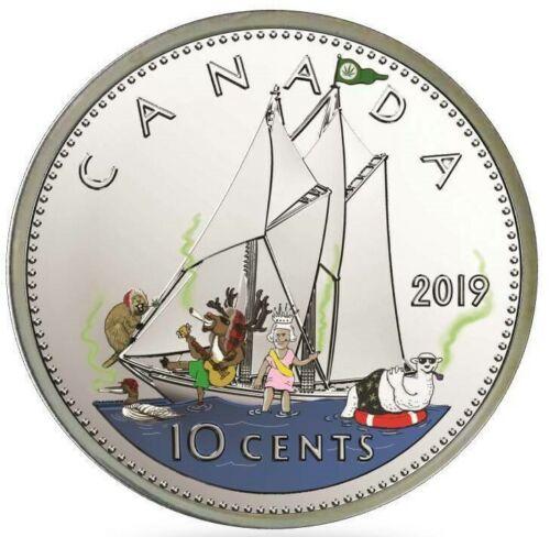 2019 $5 Canadian 1oz Silver Colorized Maple Coin- PARTY SHIP- WEED BUCKS-COA/BOX