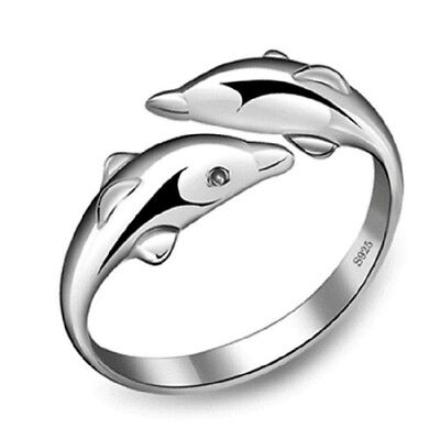 (Fashion Dolphin Silver Tail Open Adjustable Ring Lady 18K White Gold GP Ring )
