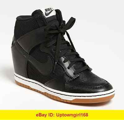 Buy dunks & suits - Nike Dunk Sky High Hi Top Mesh Wedge Sneakers Black Sz 7.5 7 1/2