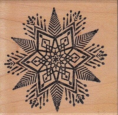 """snowflake 29389 ann-t  Wood Mounted Rubber Stamp  2 1/2 x 2 1/2""""  Free Shipping"""
