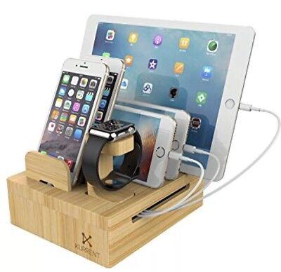 Kurrent Bamboo Desktop Charging Organizer: Multi Device Dock W/ Apple Watch-NEW!